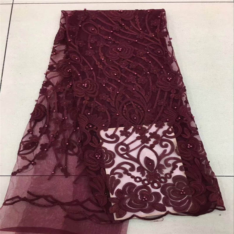 Elegant Burgundy wine wholesale bridal nigerian lace fabrics High quality african tulle net lace for dress making soft lace