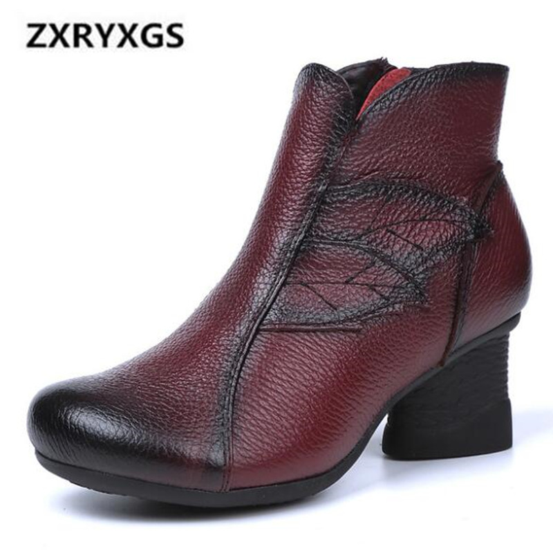 2019 New Autumn and Winter Boots Women Shoes Retro Handmade Genuine Leather Boots Comfort Soft Women