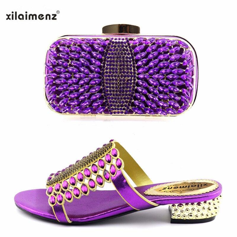 Gold Hochzeit silver Passenden Party Frauen Für Afrikanische Tasche Schuhe Hausschuhe Royal Mit Set Blue Verziert Und Farbe purple Kristall gold Italienische 4qw6nHW4r