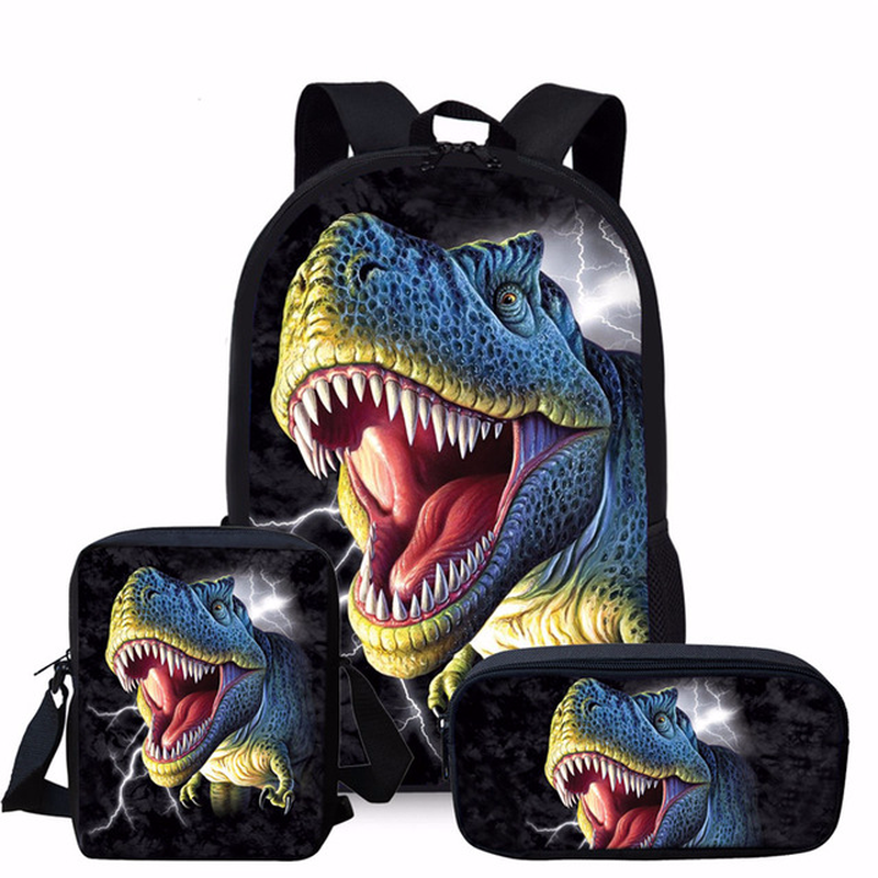 Coloranimal Dinosaur Man Backpack 3pcs/Set Orthopedic Schoolbag for Boy Dinosaur World Print 16-Inch Popular Mochila Satchel Man