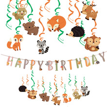 Cartoon Animals Birthday Decoration Happy Banner Hangling  Foil Swirl Jungle Party The Book Kids Favorite