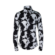 Mens Long Sleeve Luxury Gold Floral Print Dress Shirt