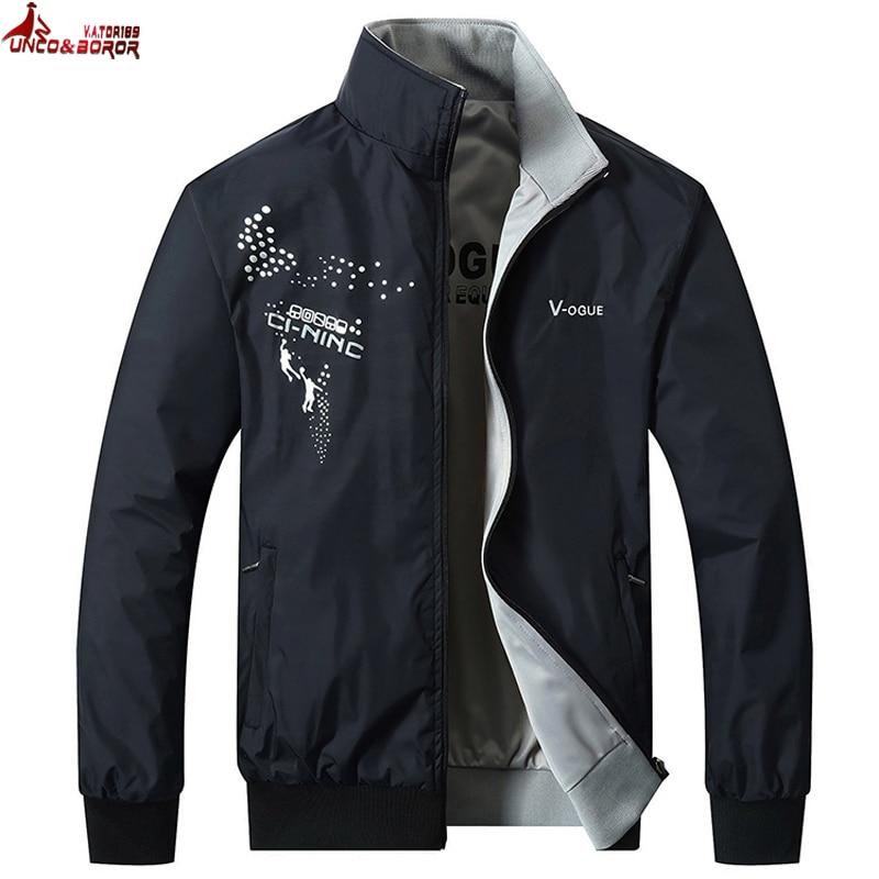 UNCO&BOROR High quality Spring Jacket men mandarin collar man jackets coat outwear Windbreaker double-sided Jacket size L~5XL double collar designed jacket earthy size l
