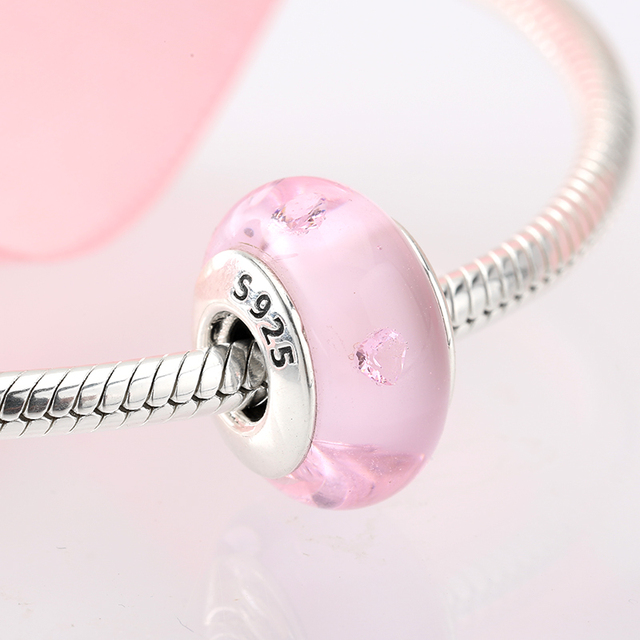 100% Authentic 925 Sterling Silver Pink heart Murano Glass Beads Fit Original Pandora Charms Bracelet Jewelry 1