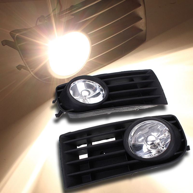 1 Pair Front Fog Lights With Racing Grills H3 12V 55W Halogen Auto Accessories For Volkswagen Golf MK V 2003-2009 2018 new luxury brand weide men watches men s quartz hour clock analog digital led watch pu strap fashion man sports wrist watch