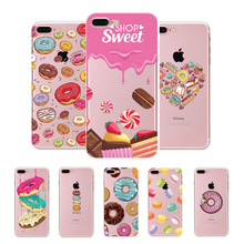 Rainbow Color Food Donuts Macaron Phone Cases For iphone 6 6S 5 5S SE 6Plus 6SPlus 4 4S Silicone Case Cover For iphone 7 plus
