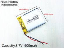 3.7V,900mAH,[603443] NTC,Polymer lithium ion / Li-ion battery for GPS,mp4,cell phone,speaker,DVR RECORDER;603443