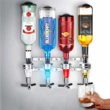4 Bottle Bar Beverage Liquor Dispenser Alcohol Drink Shot Cabinet Wall Mounted With 6 Screws(China)