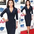 S-xxl más el tamaño de las mujeres elegantes rayas arco oficina wiggle lápiz bodycon dress pinup partido equipada stretch delgado vestidos t63
