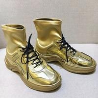 Цвета: золотистый, серебристый Черная женская обувь бренд взлетно посадочной полосы Звезда Туфли шикарные на шнуровке спереди sapato feminino Для