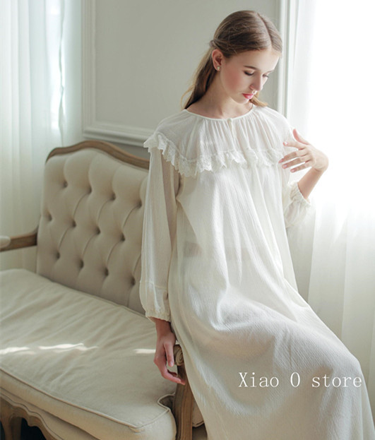 White Sleepwear Nightdress Women Lace Lace Nightgown Dress Princess Vintage  Bedgown Soft Cotton Vestidos e5c46e156