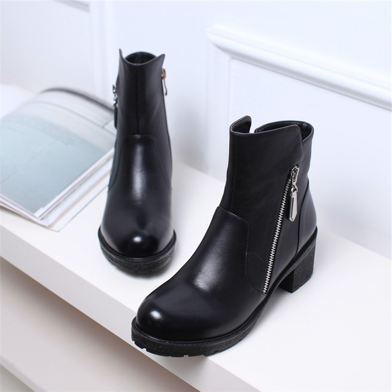 ФОТО Winter Genuine Leather Women Ankle Boots High heels Fashion Platform Ladies Sexy Woman Black Thick fashion ankle leather boots