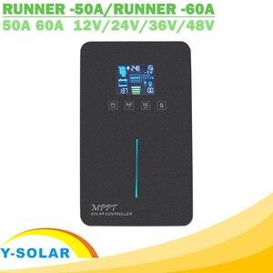 Image 1 - MPPT الشمسية جهاز التحكم في الشحن 60A 50A LCD الخلفية عرض اللمس التبديل 12V 24V 36V 48V السيارات ألواح خلايا شمسية شاحن منظم