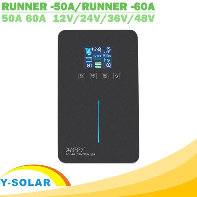 MPPT الشمسية جهاز التحكم في الشحن 60A 50A LCD الخلفية عرض اللمس التبديل 12V 24V 36V 48V السيارات ألواح خلايا شمسية شاحن منظم