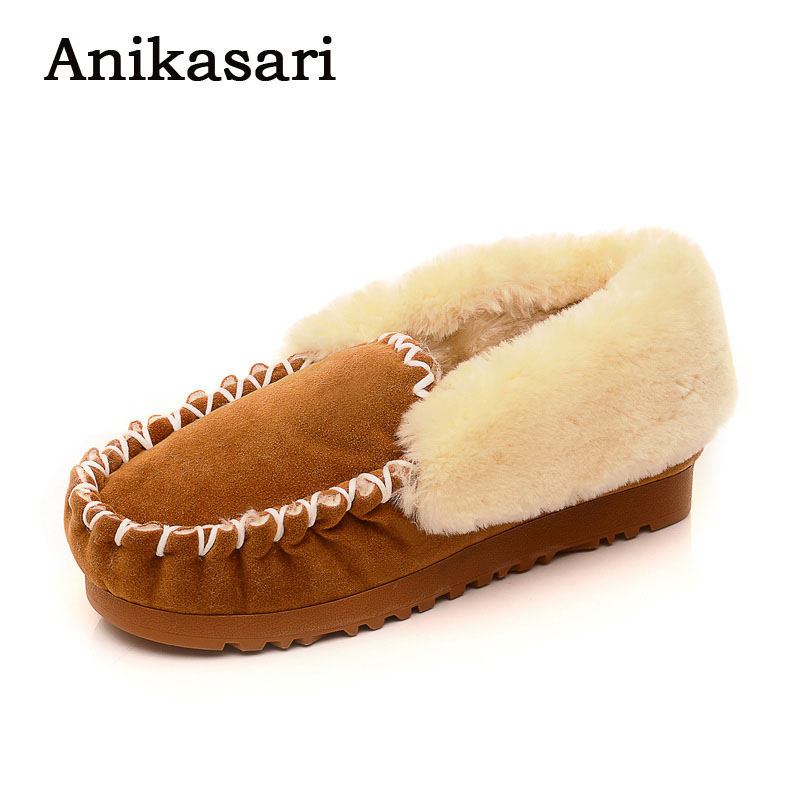Women Winter Loafers Warm Snow Shoes Casual Flat Shoes Woman Fur Inside Comfortable Slip On Lazy Shoes Zapatos Mujer 2017 2017 fashion winter flat fur shoes women rabbit fur tide lazy shoes slip on casual plus velvet loafer shoes autumn new arrival