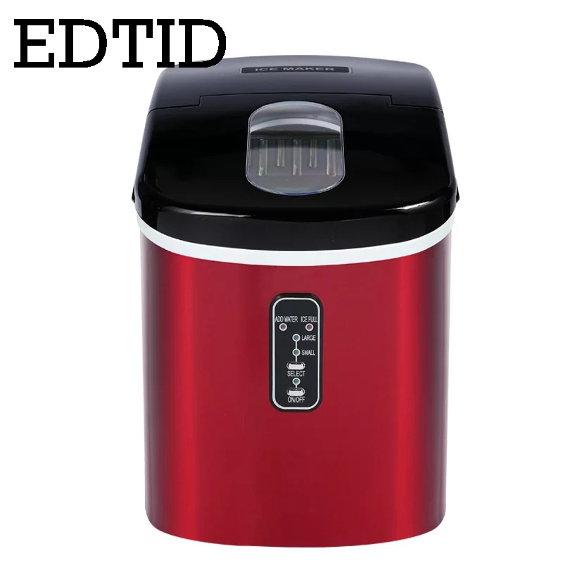 EDTID Portable Automatic Ice Cube Maker 16kg/24H Commercial Milk tea Coffee shop Mini bullet round ice Making machine EU US plug ce approved ice making machine commercial cube ice maker
