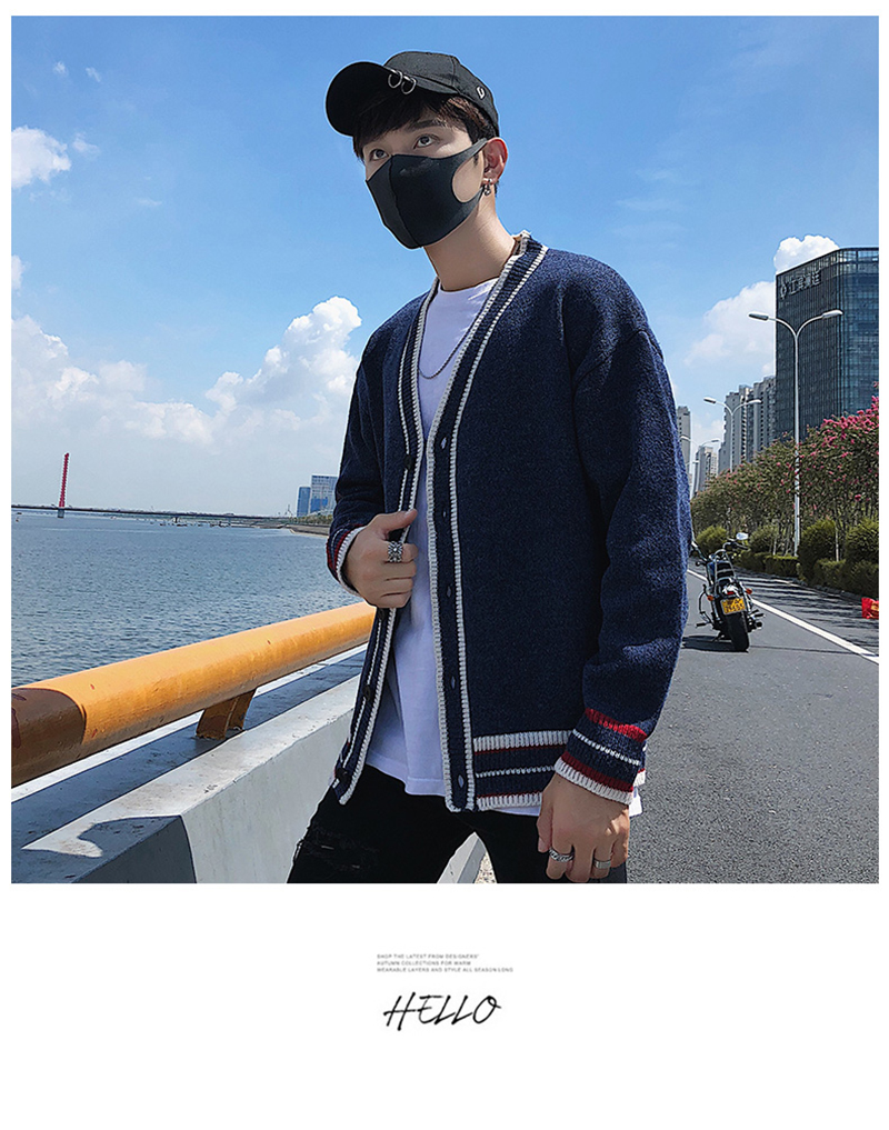 Check Button Cardigan Male Oversize Loose Streetwear (12)
