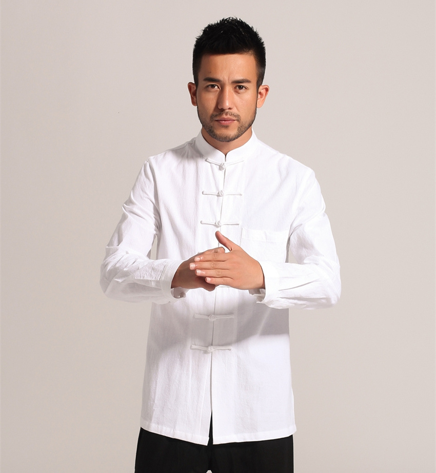 White men cotton linen long sleeve kung fu shirt classic for Men s classic dress shirts