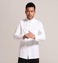 Weiß Männer Baumwolle Leinen langarm Kung Fu Hemd Klassischen Chinesischen Stil Tang Kleidung Größe S M L XL XXL XXXL hombre Camisa Mim903