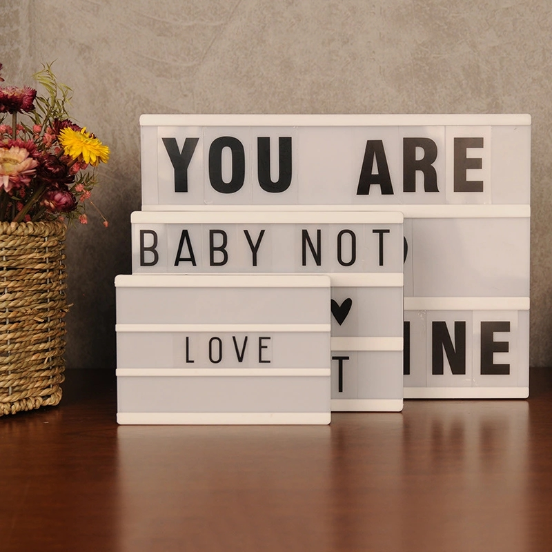 2018 New A4 A5 A6 Size LED Combination Night Light Box  Lamp DIY BLACK Letters Cards USB PORT Powered Cinema Lightbox