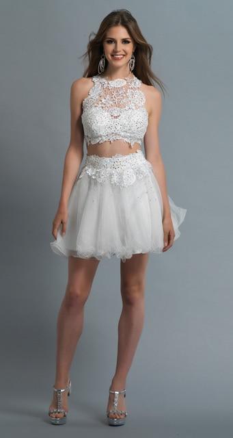 Vestido corto blanco dos piezas