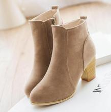 2016 Autumn and winter short cylinder boots with high heels boots shoes Martin boots women ankle boots with thick scrub