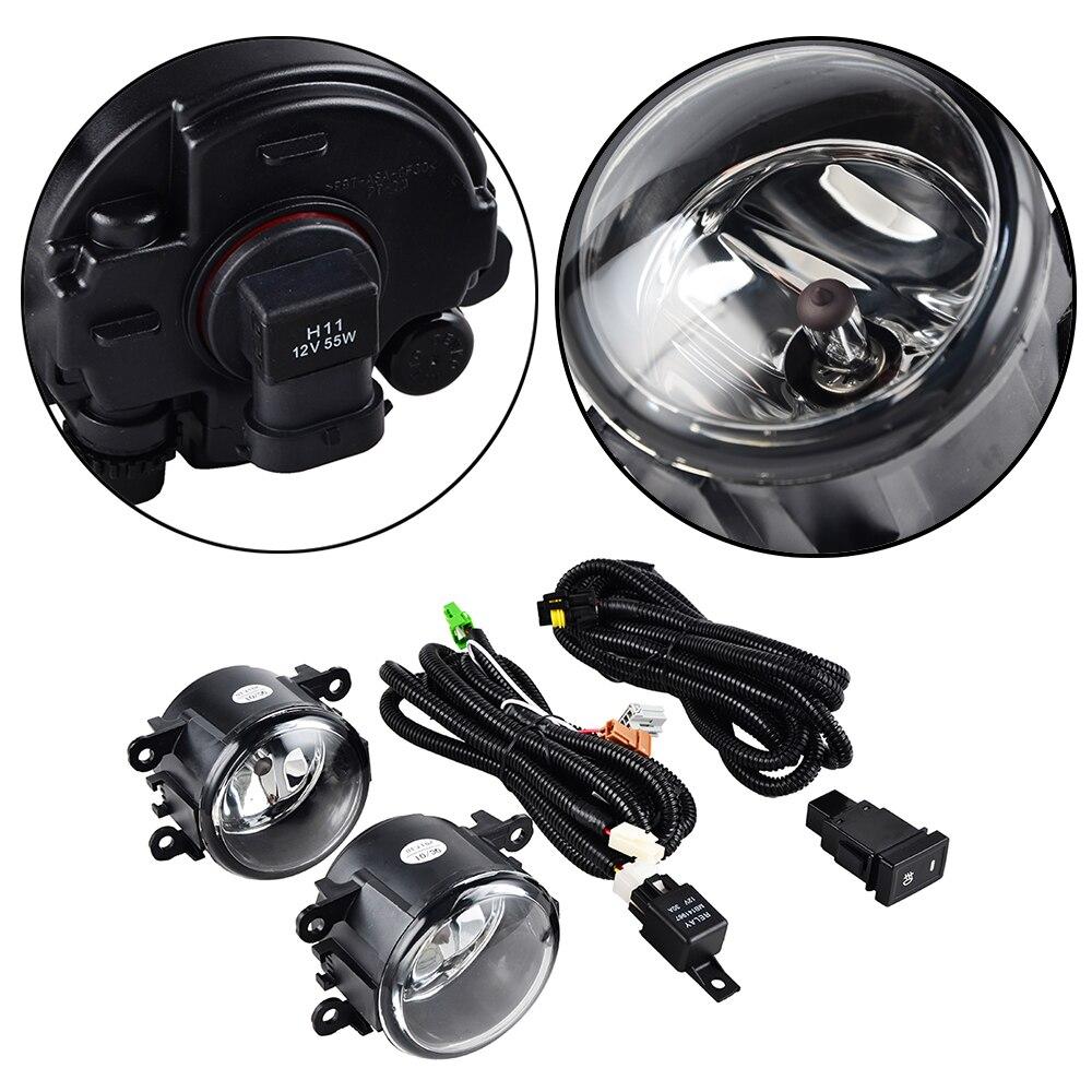 Pair Clear Front Fog Lights 12V H11 55W Bulb Wiring For Suzuki Grand Vitara SX4 4Dr 2006 2007 2008 2009 2010 2011 2012