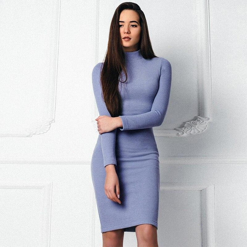 2017 Women Slim Vintage Dress Long Sleeve Turtleneck Knee-Length Solid Bodycon Women Dress