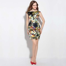 2017 Famous Brand Women summer dress dazzling colorful flowers printing OL Elegant XXL tropical rainforest Printing Party dress