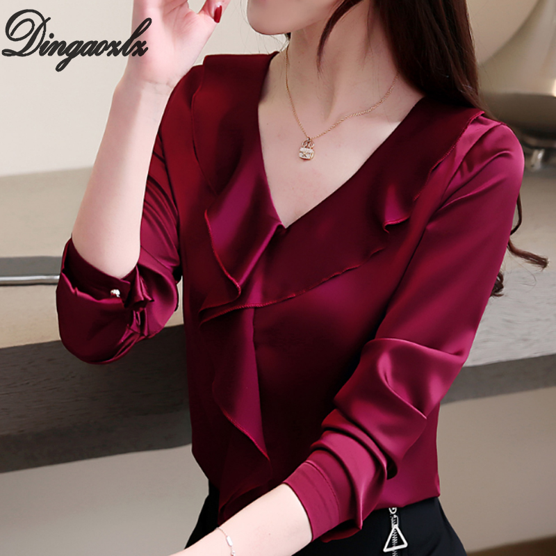 3XL Fashion Ruffles Women Tops New Plus Size Long Sleeve Shirt Solid Color V Neck Silk Office Lady Blouse Blusas Femininas