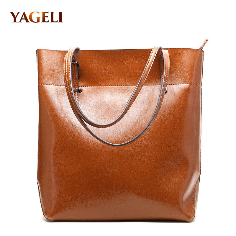 2018 genuine leather women's handbags vintage cow leather ladies' shoulder bags brand design casual totes classic women bags
