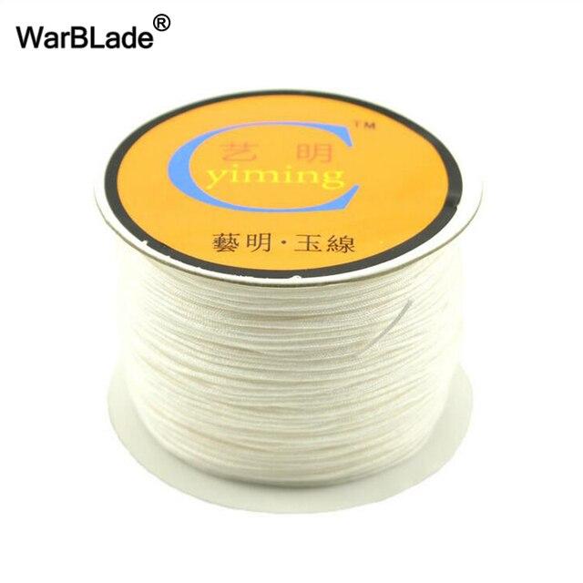 Accessoires de fabrication de bijoux 100 M 0.8mm 1mm 1.5mm 2mm cordon de coton corde de Nylon fil chaîne bricolage glands perles Bracelet tressé