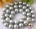"$wholesale_jewelry_wig$ free shipping AAA+++ 17.5"" 11~12MM GRAY ROUND FW CULTURED PEARL NECKLACE"