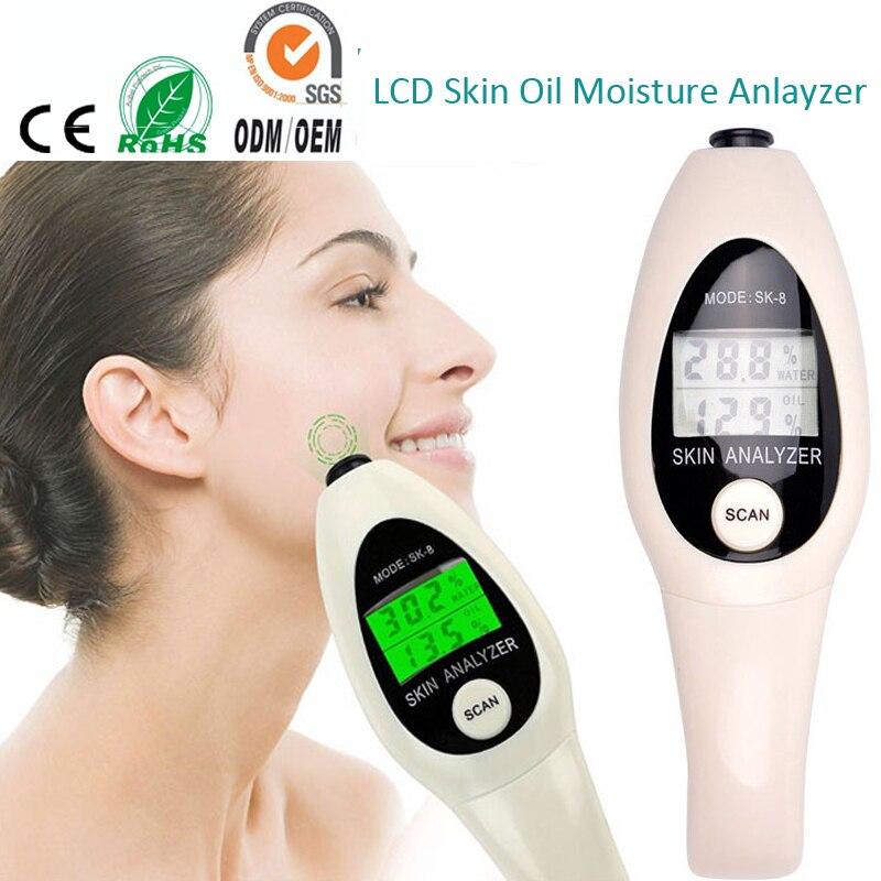 LCD Display Portable Mini Handheld Facial Moist Oil Skin Analyzer Tester Skin Health Care Monitor Beauty