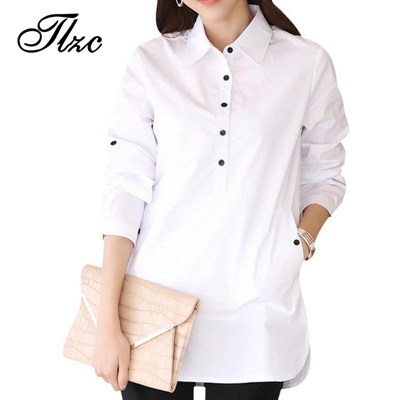 Elegante Blusa Blanca Camisa de Las Mujeres del Tamaño S-3XL Señoras Oficina Blu