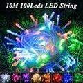 100 LED 10 M Luzes Cordas de Fadas Natal Xmas Garland Festa de Casamento Azul/Branco/Amarelo/Rosa de Natal Luzes LED Ao Ar Livre