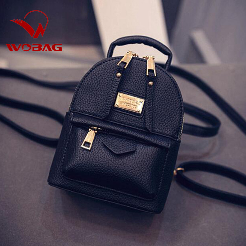 Fashion Wobag Backpacks Woman 2019 Mini PU Leather Backpack Female Solid Color Bookbag Gift Backbag Backpack Schoolbag For Girls