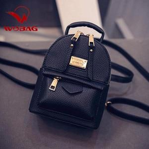 Image 1 - Fashion Wobag Backpacks Woman 2019 Mini PU Leather Backpack Female Solid Color Bookbag Gift Backbag Backpack Schoolbag For Girls