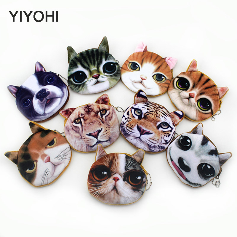 11CM*11CM children coin purses wallet ladies 3D printing cats dogs animal big face change fashion cute small zipper bag striped travelling carrying bag for cats small