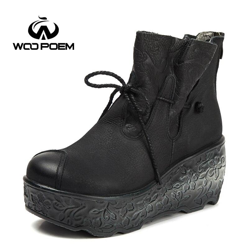 d9e32a3e6d9b47 Black Wedge Wa755 Hiver Femmes Talon forme khaki Haut Plate Cuir En  Chaussures Femme Bottes 2018 Cheville Woopoem Véritable ...