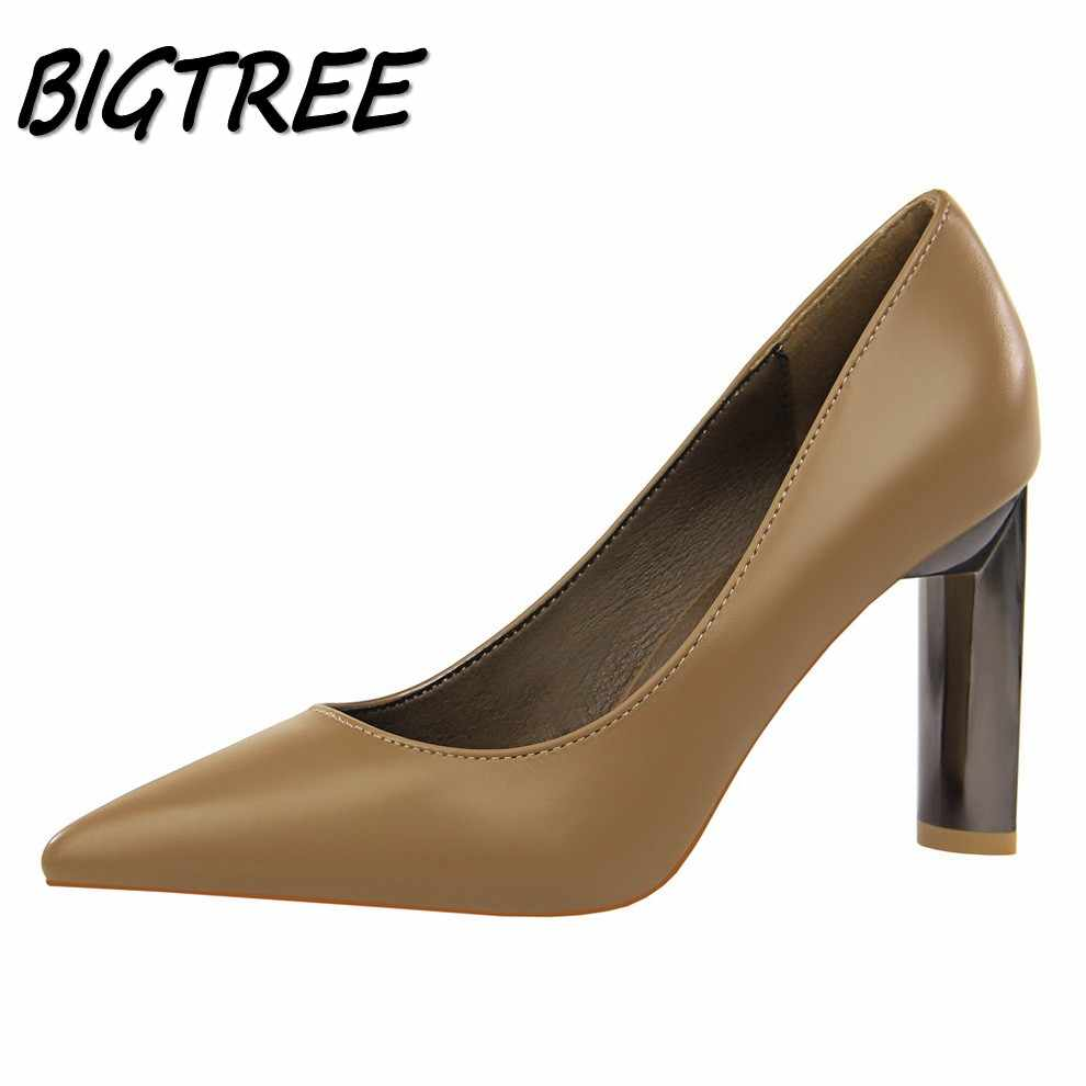 BIGTREE Women Pointed Toe Square heel Shoes Woman Pumps Ladies Fashion  Wedding Party Dress sexy Shallow f9303df8d24e