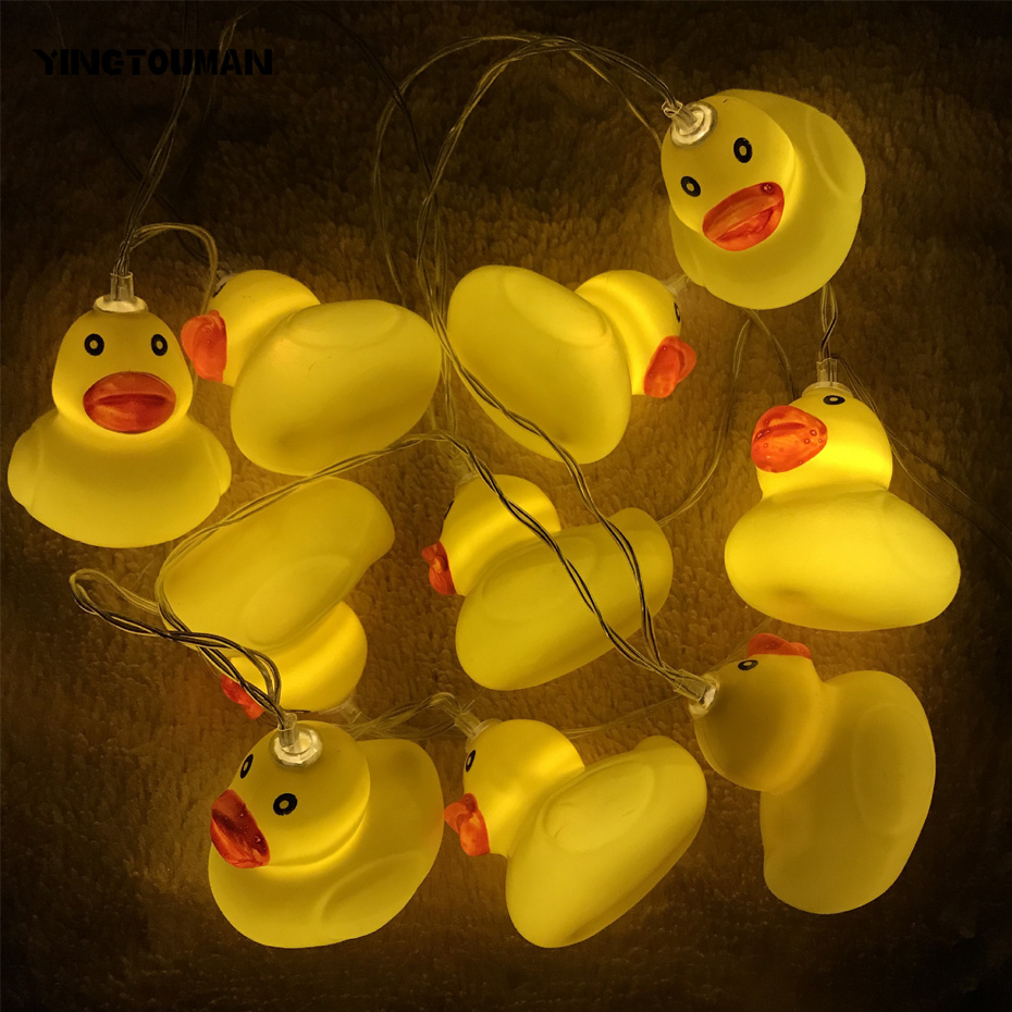 YINGTOUMAN Cute Yellow Duck Battery/USB Lamp String Lights Christmas Party Festival Holiday Decorative Lightings 1.5m 10LED