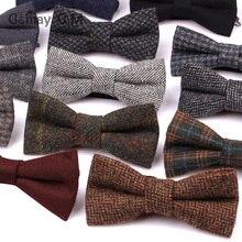 Новые шерстяные галстуки-бабочки для мужчин, модные регулируемые шерстяные галстуки-бабочки для свадьбы, вечеринки, жениха, бабочки, взрослые клетчатые галстуки-бабочки