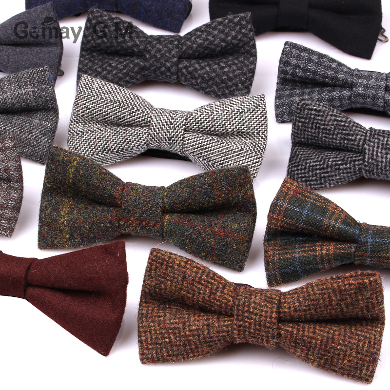 New Wool Bow Ties For Men Cravats Fashion Adjustable Woolen Bowtie For Wedding Party Groom Butterfly Adult Plaid Bowties