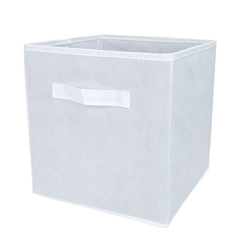 Attractive White Fabric Cube Storage Bins, Foldable, Premium Quality Collapsible  Baskets, Closet Organizer Drawers