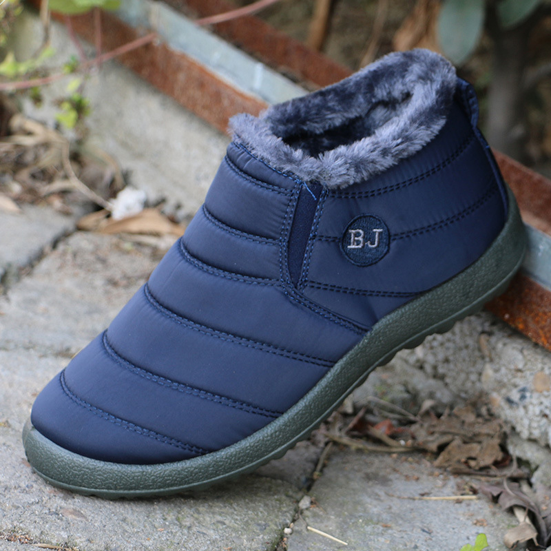Men Boots Winter Shoes Solid Color Work Shoes Snow Boots Men Shoes Plush Inside Antiskid Bottom Keep Warm Waterproof Ski Boots