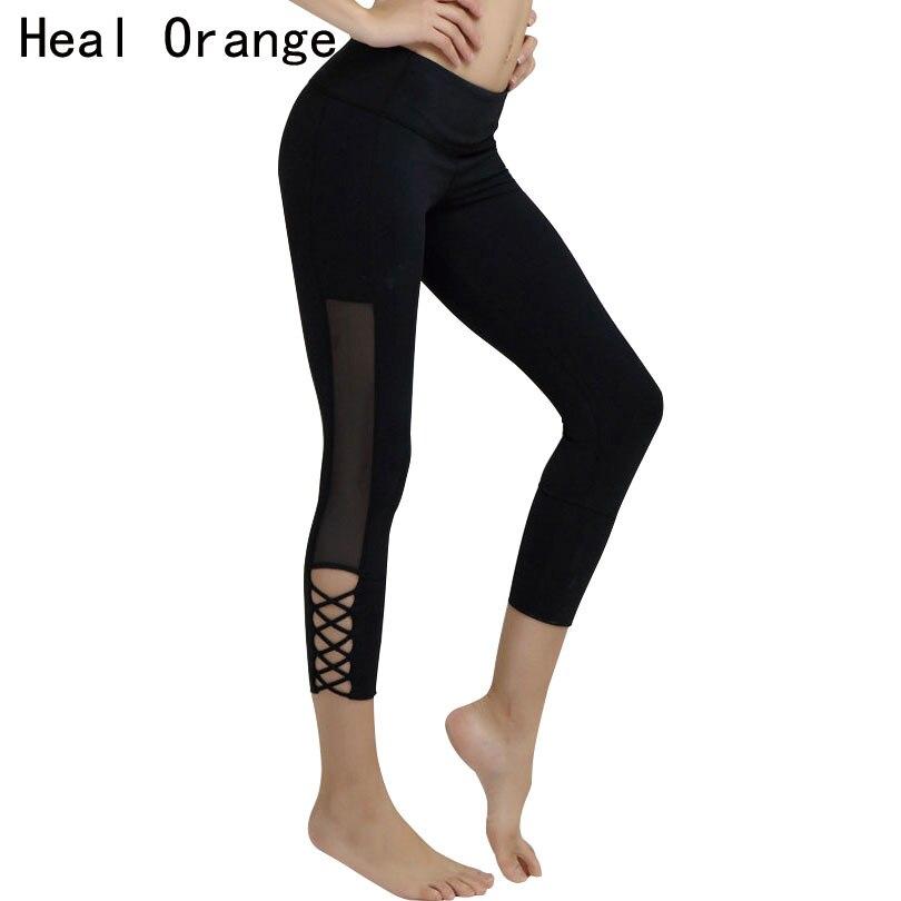 HEAL ORANGE Jóga Capri nadrág magas derékszögű üreges vágás nettó fonal nadrág edzés edzés sport leggins 3/4 futó harisnya nők