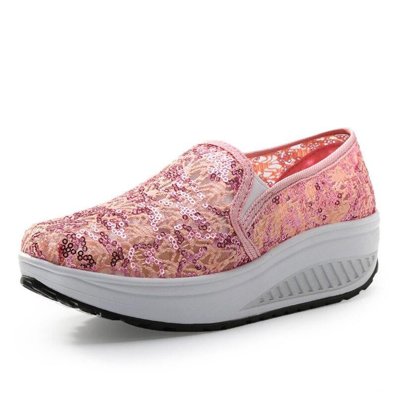 pink Y white 2016 Otoño Ups Mujeres Graffiti Moda La Zapatos rose Black Forma Las Casuales De Mujer Oscilación Cuña Planos Primavera Plataforma 5HHfwq1
