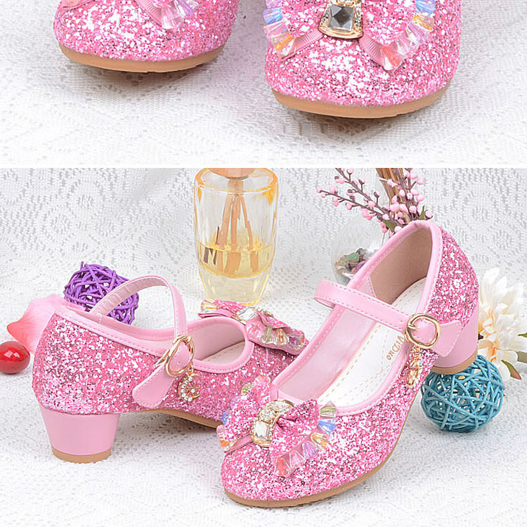 1_052016 spring Kids Girls High Heels For Party Sequined Cloth Blue pink Shoes Ankle Strap Snow Queen Children Girls Pumps Shoes