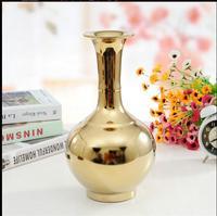 European style modern fashion gold vase creative pieces of jingdezhen porcelain vase home decoration presents a gift